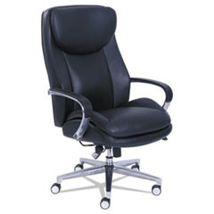 Commercial 2000 Big and Tall Executive Chair with Dynamic Lumbar Support, Up to 400 lbs., Black Seat/Back, Silver Base
