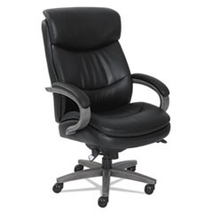 Woodbury Big and Tall Executive Chair, Supports up to 400 lbs., Black Seat/Black Back, Weathered Gray Base