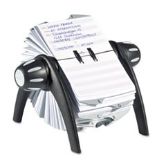 TELINDEX Rotary Address Card File Holds 500 4 1/8 x 2 7/8 Cards, Graphite/Black