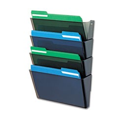 DocuPocket Four-Pocket Wall Set, Plastic, Letter, 13 x 4 x 7, Smoke