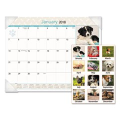 Puppies Monthly Desk Pad Calendar, 22 x 17, 2018