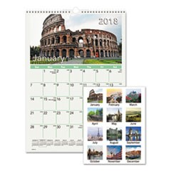 European Destinations Wall Calendar, 12 x 17, 2018