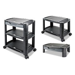 "3-in-1 Storage Cart and Stand, 21 5/8""w x 13 3/4""d x 24 3/4""h,Black/Gray"
