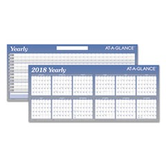 Large Horizontal Erasable Wall Planner, 60 x 26, White/Blue, 2018