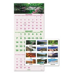 Scenic Three-Month Wall Calendar, 12 x 27, 2017-2019