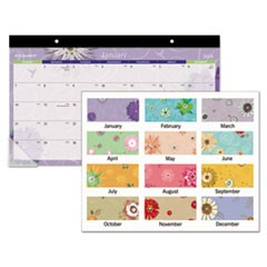 Paper Flowers Compact Monthly Desk Pad, 17 3/4 x 10 7/8, 2018