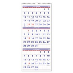 Vertical-Format Three-Month Reference Wall Calendar, 12 x 27, 2017-2019