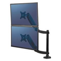 "Platinum Series Dual Stacking Monitor Arm, up to 27""/22 lbs, Clamp/Grommet, Black"