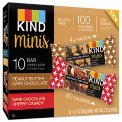 Minis, Cherry Cashew/Dark Chocolate, Dark Chocolate/Peanut Butter, 0.7 oz, 10/Pack