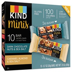 Minis, Dark Chocolate Nuts and Sea Salt, Caramel Almond Nuts and Sea Salt,  0.7 oz, 10/Pack