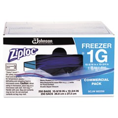 "Double Zipper Freezer Bags, 1 gal, 2.7 mil, 10.56"" x 10.75"", Clear, 250/Carton"