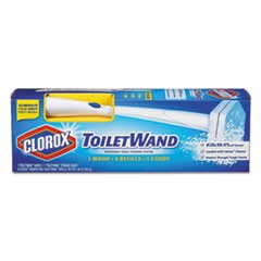 Toilet Wand Disposable Toilet Cleaning Kit: Handle, Caddy & Refills, White