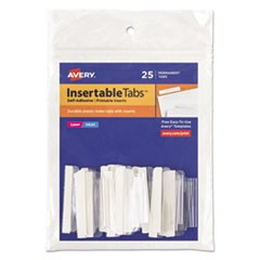 "Insertable Index Tabs with Printable Inserts, 1/5-Cut Tabs, Clear, 1.5"" Wide, 25/Pack"
