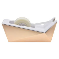 "Facet Design One-Handed Dispenser, with 3/4 x 350 Tape Roll, 1"" Core, Copper"