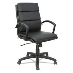 Alera Neratoli Mid-Back Slim Profile Chair, Black Leather, Black Frame