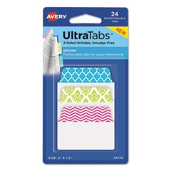 "Ultra Tabs Repositionable Standard Tabs, 1/5-Cut Tabs, Assorted Patterns, 2"" Wide, 24/Pack"