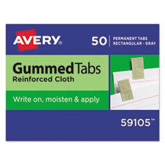 "Gummed Reinforced Index Tabs, 1/12-Cut Tabs, Gray, 0.44"" Wide, 50/Pack"