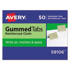 Gummed Reinforced Index Tabs, 1 x 13/16, Gray, 50/Pack