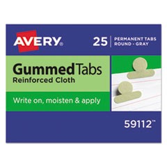 Gummed Reinforced Index Tabs, 1/2 in, Gray, 25/Pack
