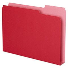 Double Stuff File Folders, 1/3-Cut Tabs, Letter Size, Red, 50/Pack