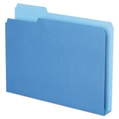 Double Stuff File Folders, 1/3-Cut Tabs, Letter Size, Blue, 50/Pack
