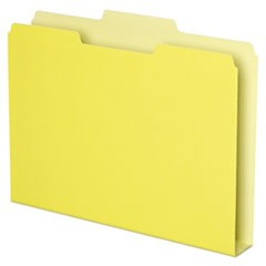 Double Stuff File Folders, 1/3-Cut Tabs, Letter Size, Yellow, 50/Pack