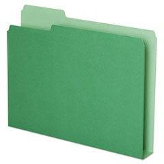 Double Stuff File Folders, 1/3 Cut, Letter, Green, 50/Pack