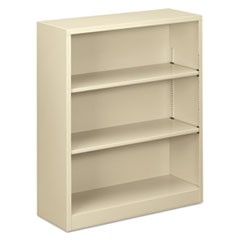 "Steel Bookcase, 3-Shelf, 34.5""w x 12.63""d x 41""h, Putty"