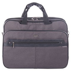 "Harry Executive Briefcase, 16.5"" x 4.75"" x 12.5"", Nylon/Synthetic Leather, Gray"