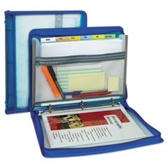 "Zippered Binder w/ Expanding File, 2"" Expansion, 7 Sections, Letter Size, Bright Blue"