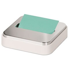 "Steel Top Dispenser, 3"" x 3"", White/Steel"