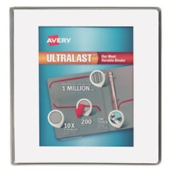 "UltraLast Heavy-Duty View Binder with One Touch Slant Rings, 3 Rings, 1"" Capacity, 11 x 8.5, White"