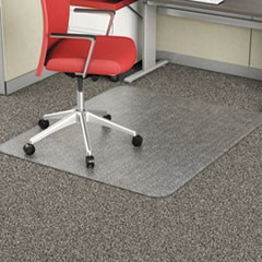 Occasional Use Studded Chair Mat for Flat Pile Carpet, 46 x 60, Rectangular, Clear