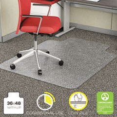 Deflecto Economat Occasional Use Chair Mat, Low Pile Carpet, Roll, 36 X 48, Lipped, Clear