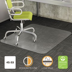 DuraMat Moderate Use Chair Mat, Low Pile Carpet, Flat, 45 x 53, Rectangle, Clear