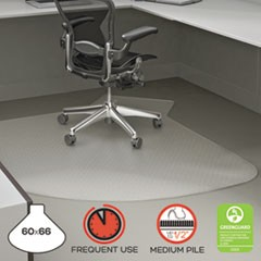 SuperMat Frequent Use Chair Mat, Medium Pile Carpet, 60 x 66, L-Shape, Clear