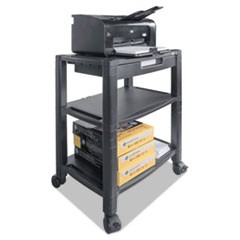 Mobile Printer Stand, Three-Shelf, 20w x 13.25d x 24.5h, Black