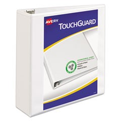 "TouchGuard Protection Heavy-Duty View Binders with Slant Rings, 3 Rings, 3"" Capacity, 11 x 8.5, White"