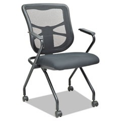 Alera Elusion Mesh Nesting Chairs, Padded Arms, Black Seat/Black Back, Black Base, 2/Carton