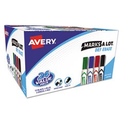 MARKS A LOT Desk-Style Dry Erase Marker Value Pack, Broad Chisel Tip, Assorted Colors, 24/Pack