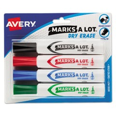MARKS A LOT Desk-Style Dry Erase Marker, Broad Chisel Tip, Assorted Colors, 4/Set