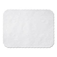 Anniversary Embossed Scalloped Edge Tray Mat, 14 x 19, White, 1000/Carton