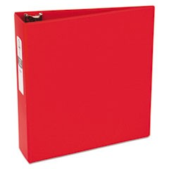"Economy Non-View Binder with Round Rings, 11 x 8 1/2, 3"" Capacity, Red"