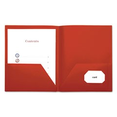 Two-Pocket Plastic Folders, 11 x 8 1/2, Red, 10/Pack