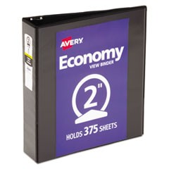 "Economy View Binder with Round Rings , 3 Rings, 2"" Capacity, 11 x 8.5, Black"