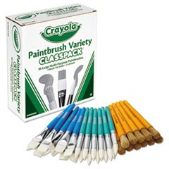 Large Variety Paint Brush Classpack, Natural Bristle/Nylon, Flat/Round, 36/Set