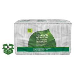 100% Recycled Napkins, 1-Ply, 11 1/2 x 12 1/2, White, 250/Pack, 12 Packs/Carton