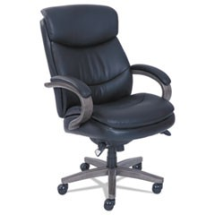 Woodbury High-Back Executive Chair, Supports up to 300 lbs., Black Seat/Black Back, Weathered Gray Base