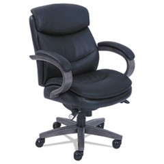 Woodbury Mid-Back Executive Chair, Supports up to 300 lbs., Black Seat/Black Back, Weathered Gray Base