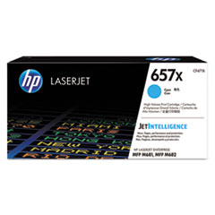 HP 657X, (CF471X) High Yield Cyan Original LaserJet Toner Cartridge